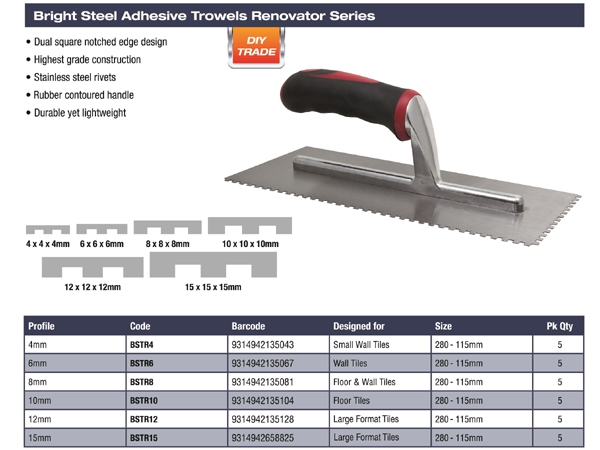 Dta Adh Trowel 8mm Square Notch